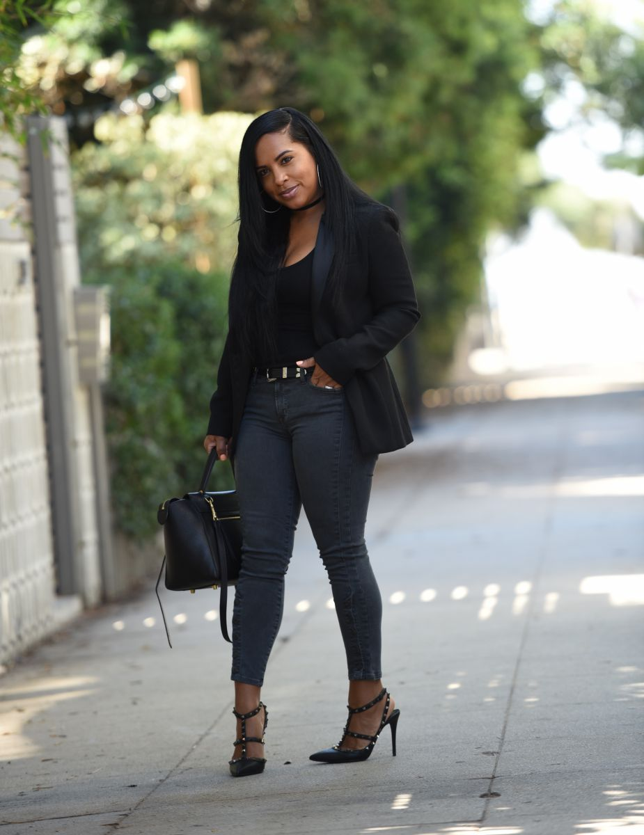 Black Blazer + Grey Jeans