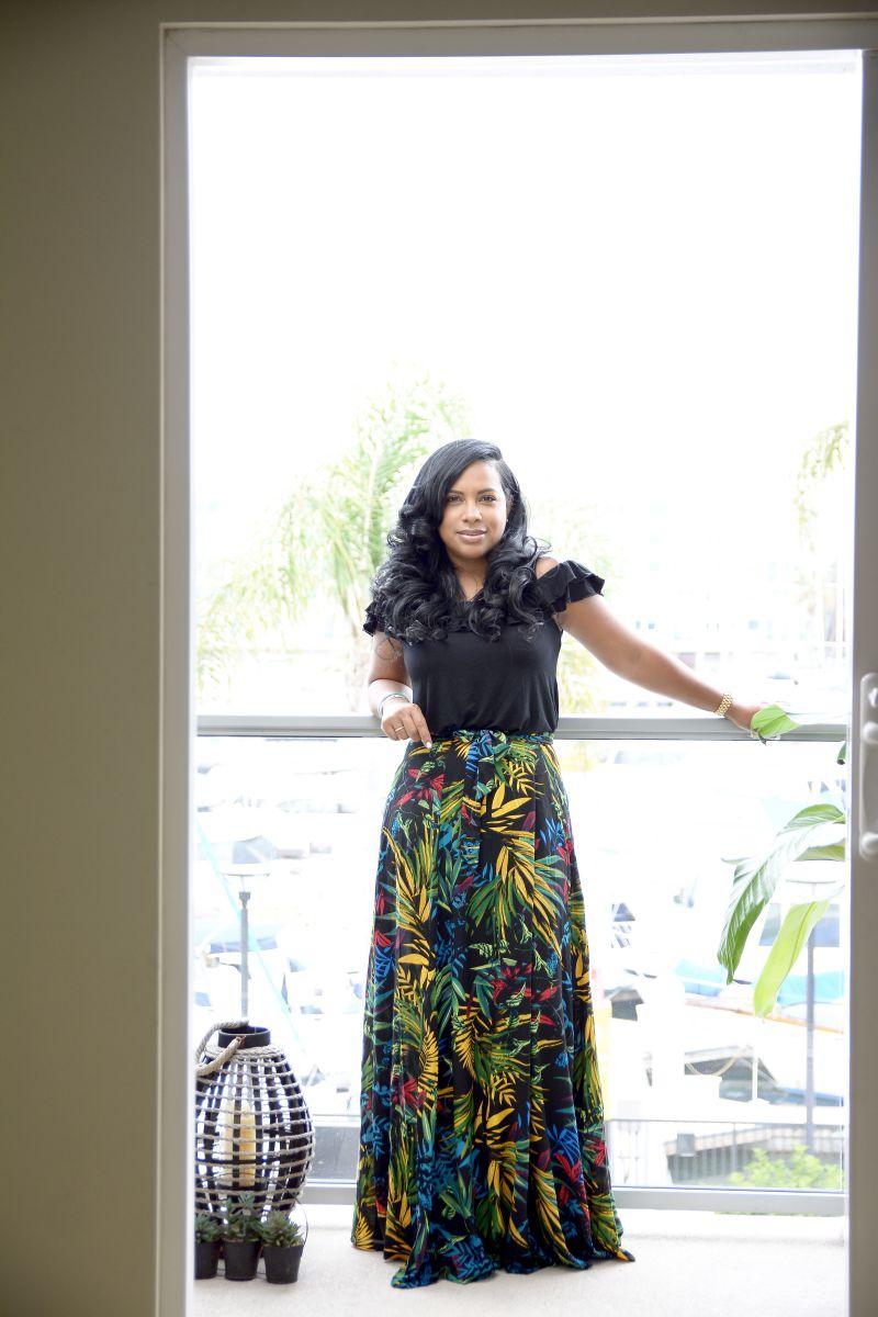 Ruffled top + Long floral skirt