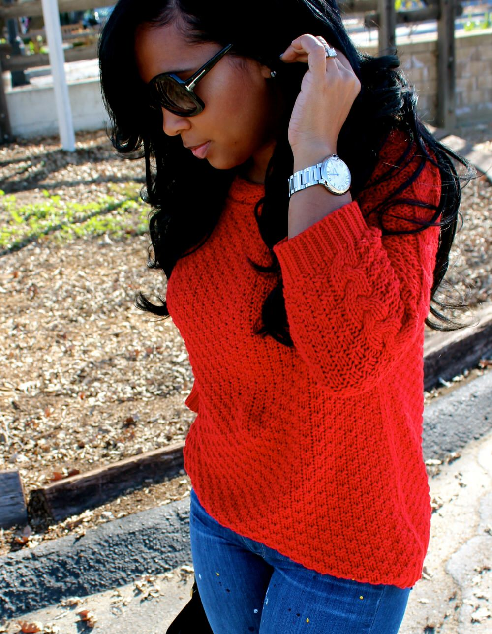 red knitted sweater + paint splattered jeans
