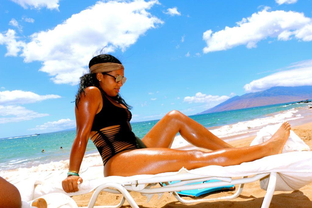 Tanya Major wearing Agent Provocateur Dakotta Swimsuit