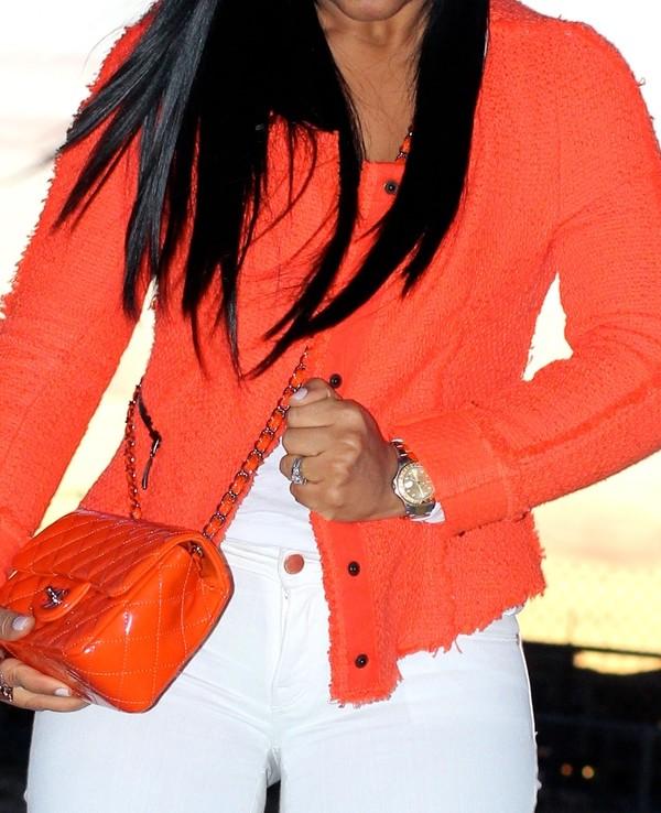 Wearing - Orange Chanel inspired Tweed Jacket by Zara, James Perse Tank, Genetic Denim White Jeans