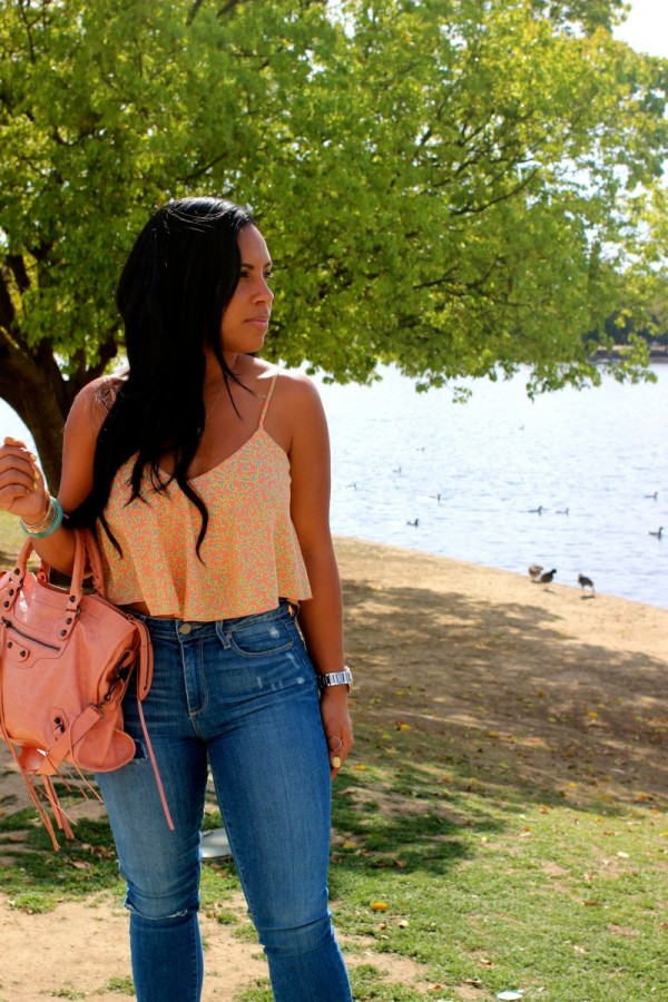 Paige denim reviews - Nordstrom Rack top, Paige Denim Jeans Hoxton Ultra Skinny in Carmen Tear and Repair, Balenciaga Bag