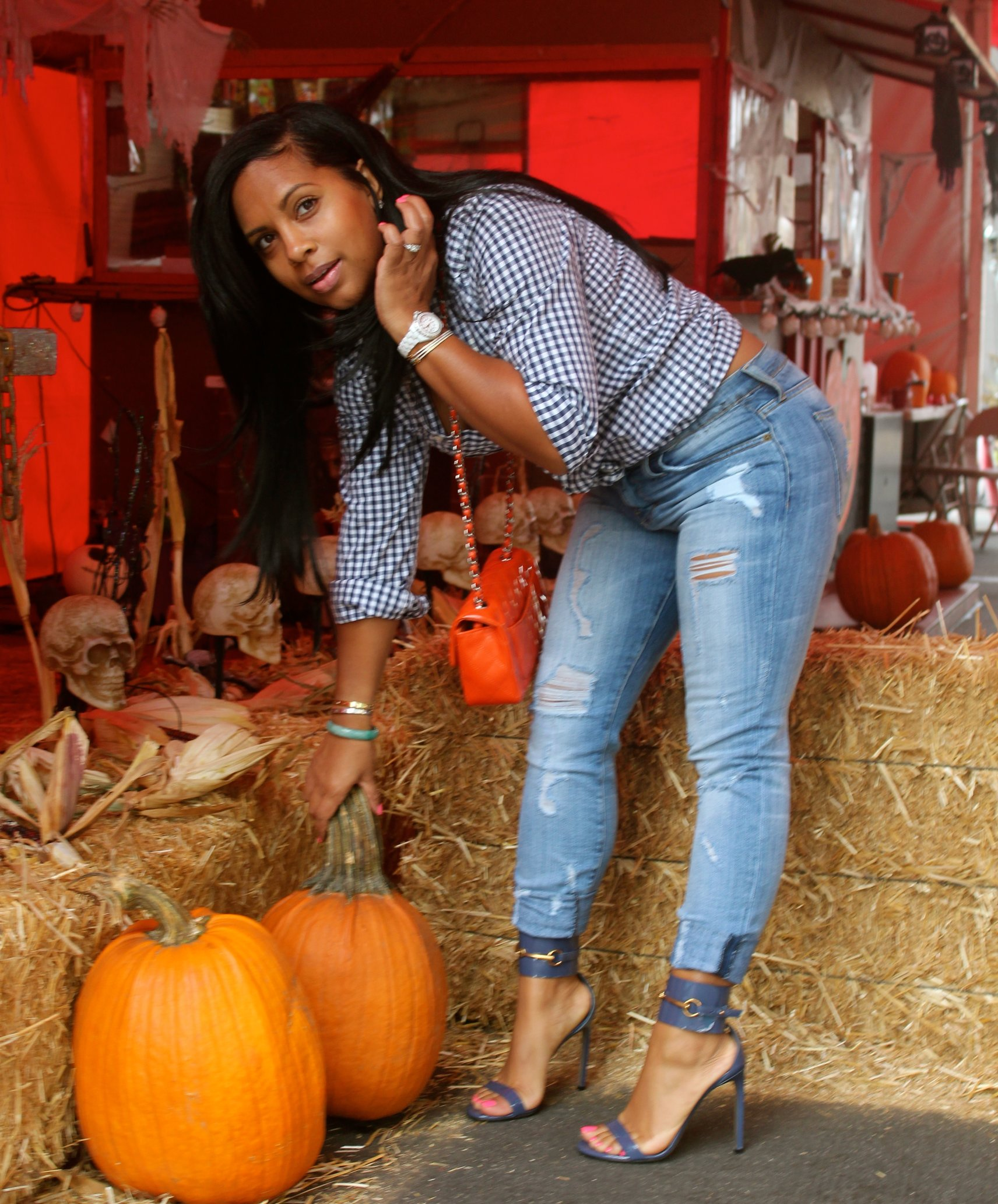 Black Female Fashion: Black Women Fashion Pumkin Patch Look Halloween