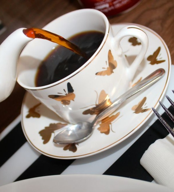 coffee in a butterfly cup