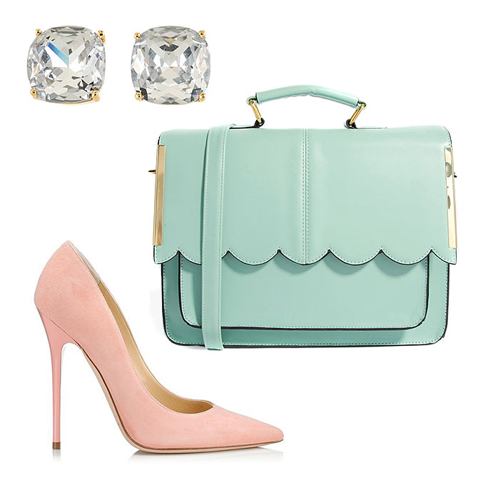 Jimmy Choo ANOUK Key Lime Suede Pointy Toe Pumps, Kate Spade New York Small Square Studs, ASOS Satchel Bag With Scallop Bar Detail