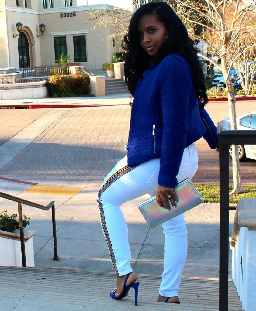 Wearing - blue blazer, Guess embellished white jeans, Balenciaga blue sandals