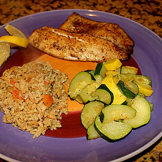 Tilapia, brown rice, and zucchini