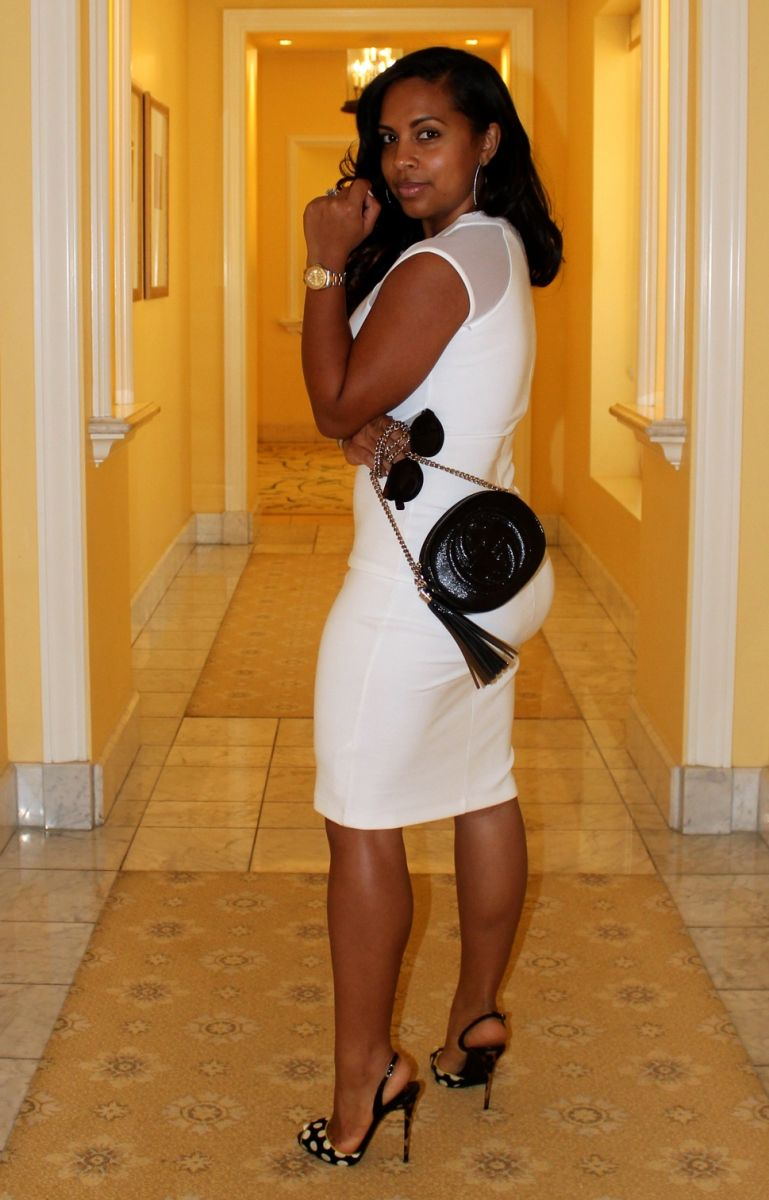 Wearing - French Connection Dress, Giuseppe Zanotti Heels, Gucci Bag