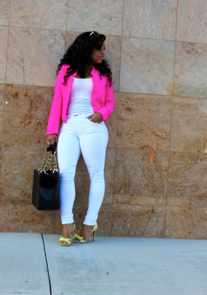 Hot Pink Blazer And White Jeans Major Must Haves