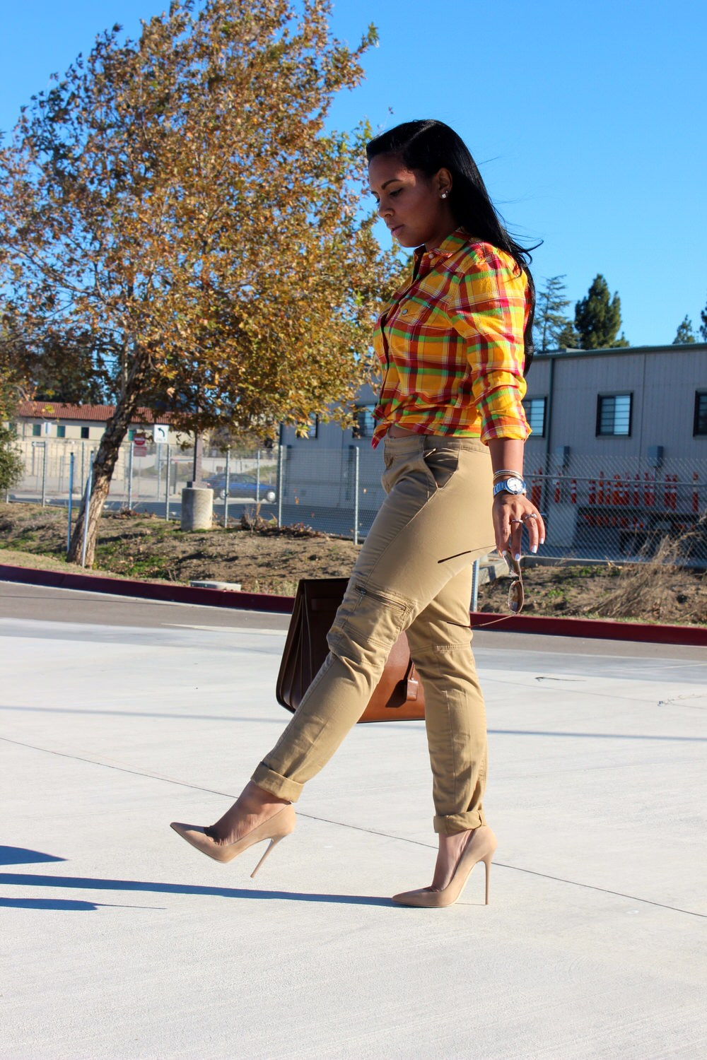 Calvin Klein khaki pants women, Ralph Lauren Plaid Shirt, Saint Laurent Bag, Jimmy Choo Pumps, Dolce&Gabbana