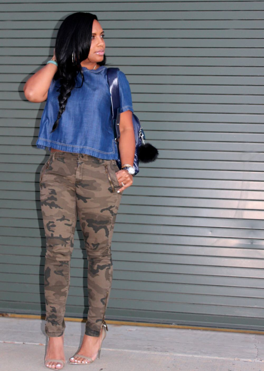 denim top with camouflage pants