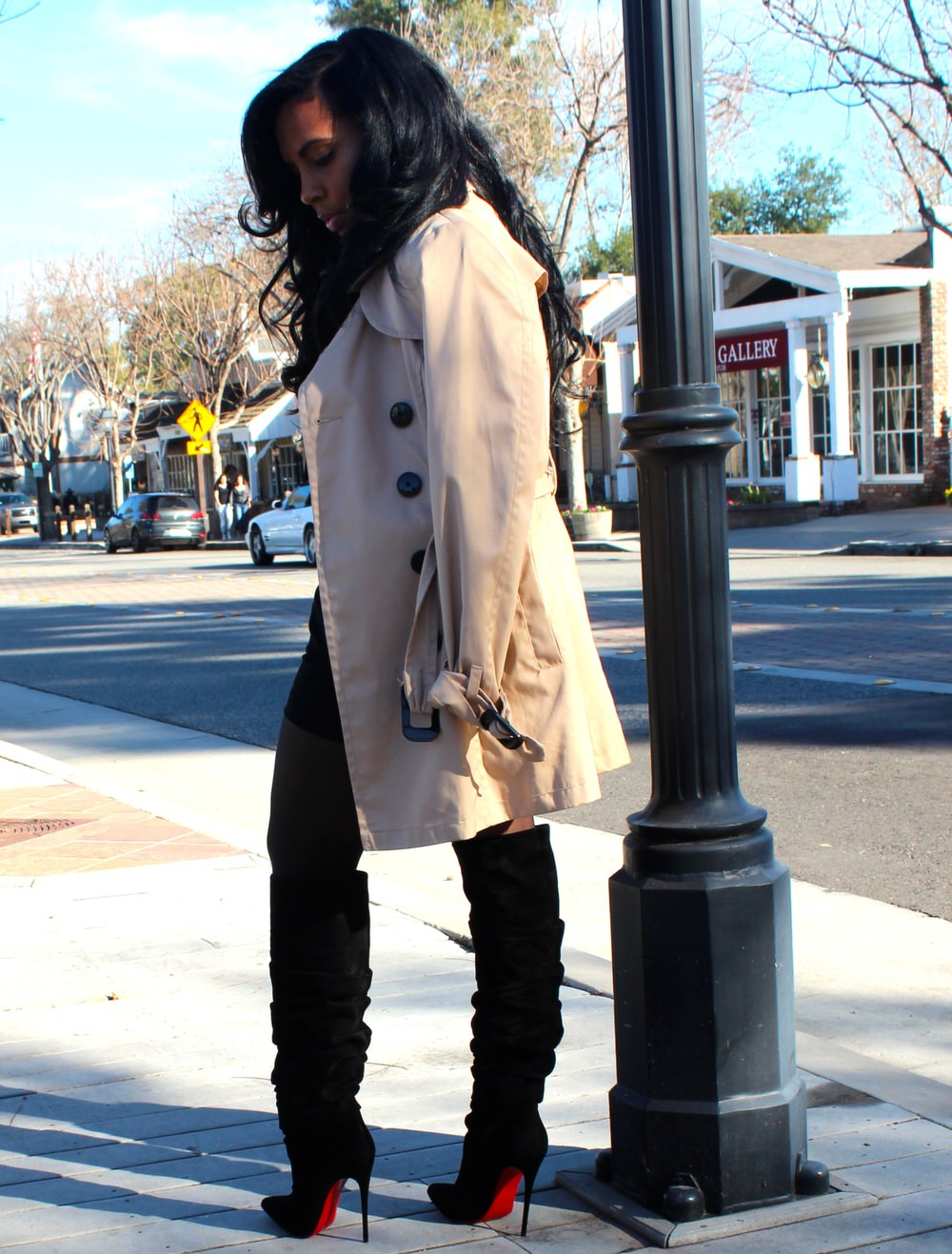 Blouse, Trench Coat, Shorts, Stockings, Wild Fox Shades, Christian Louboutin Boots