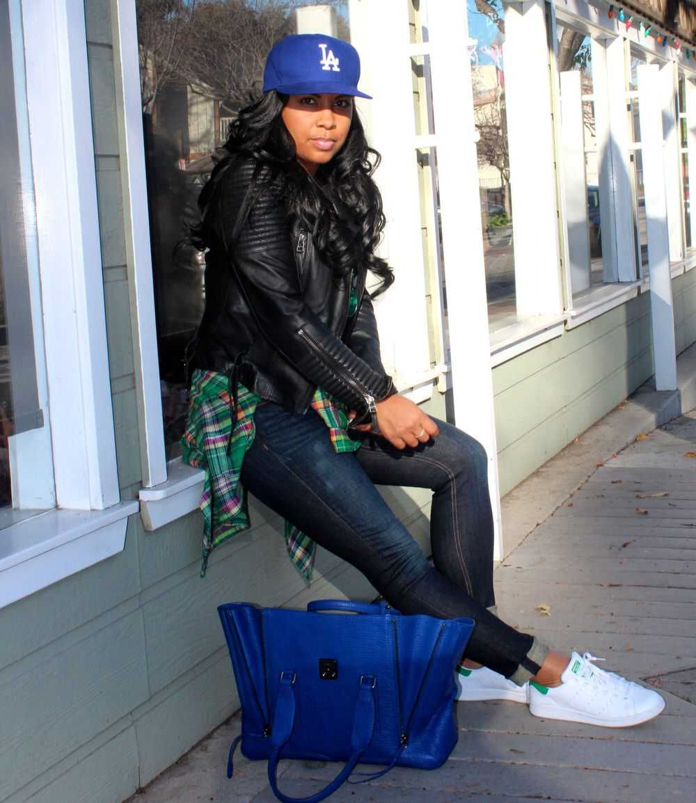 Easy style - Adidas Tennis Shoes, Rag & Bone Jeans, Gap Tank, Plaid Shirt, LA Dodgers Baseball Cap, Moto Jacket, Phillip Lim Bag