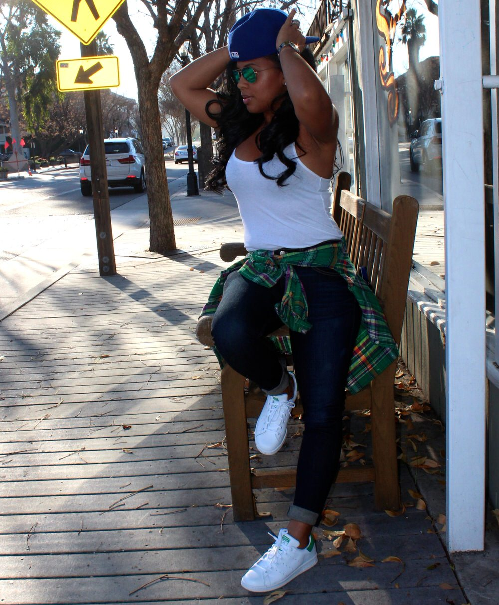 Adidas Tennis Shoes, Rag & Bone Jeans, Gap Tank, Plaid Shirt, LA Dodgers Baseball Cap, Moto Jacket, Phillip Lim Bag