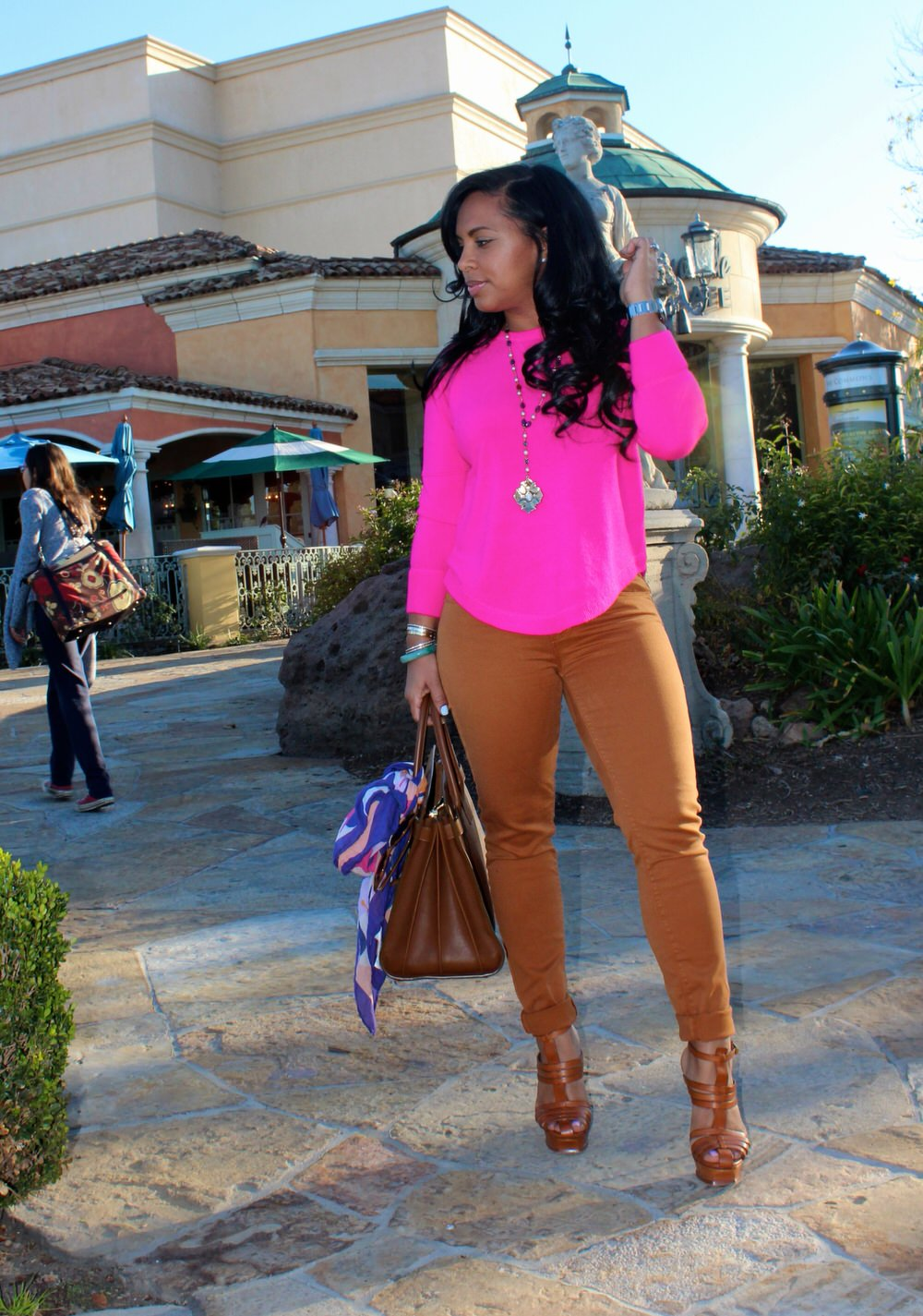 Hot Pink Sweater, Colored Jeans, YSL Heels, Saint Laurent