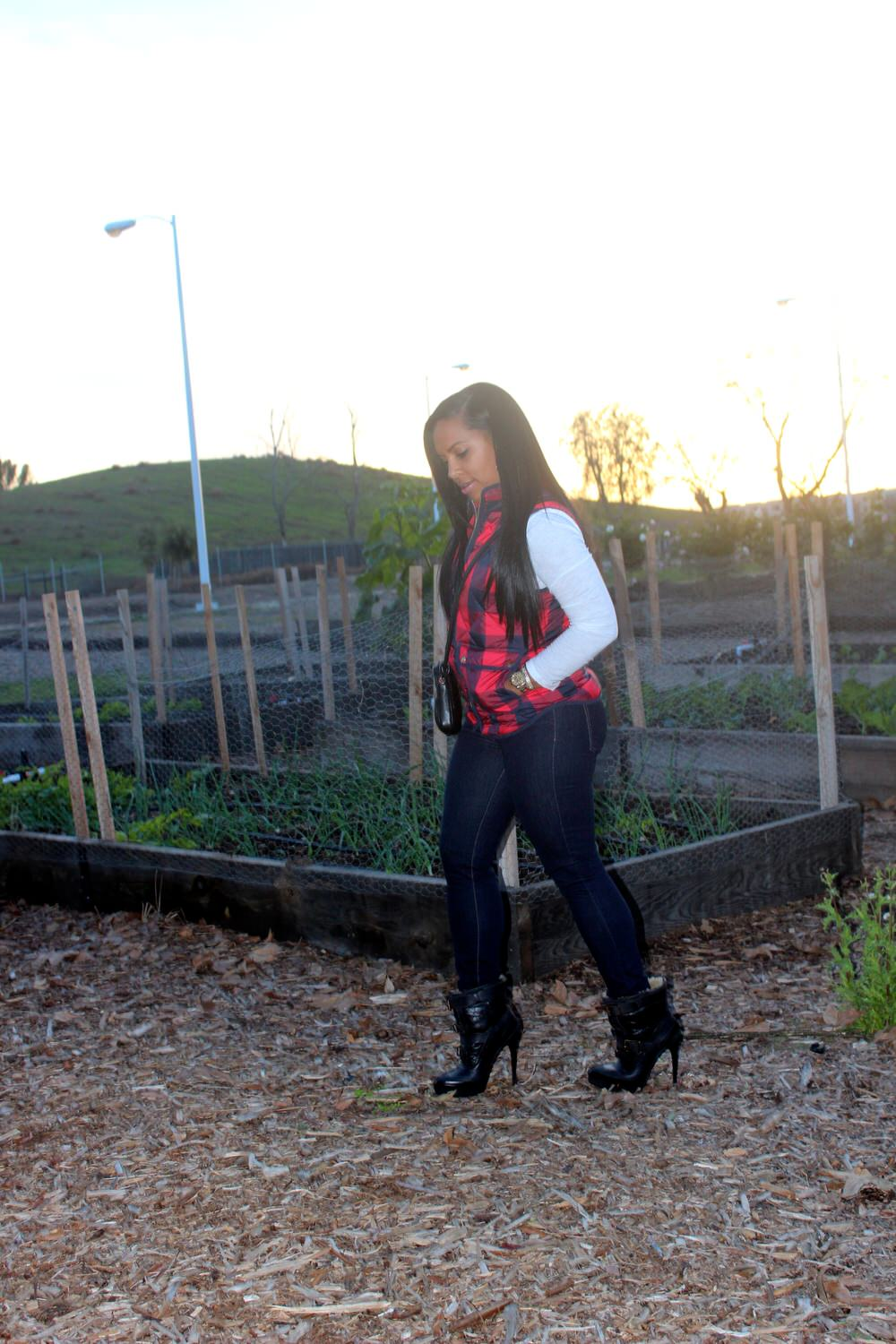 J Crew Excursion Quilted Vest in Buffalo Check, 7 for All Mankind jeans, Burberry boots, Chanel handbag