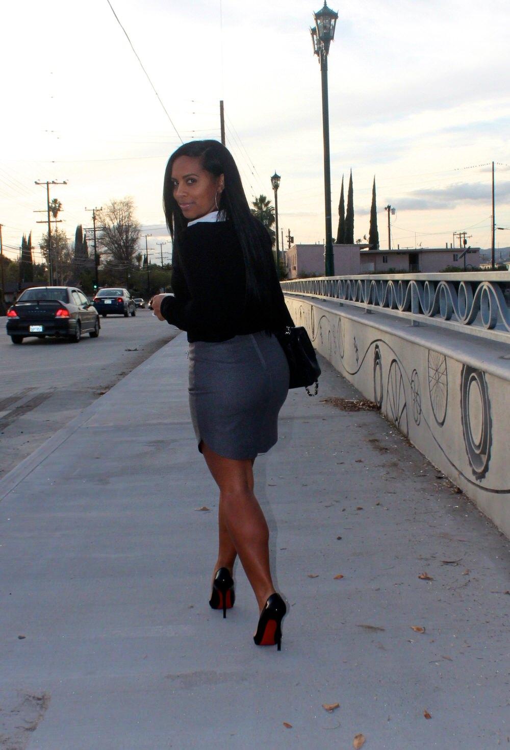Blouse, H&M Skirt, Christian Louboutin Heels, Chanel Bag