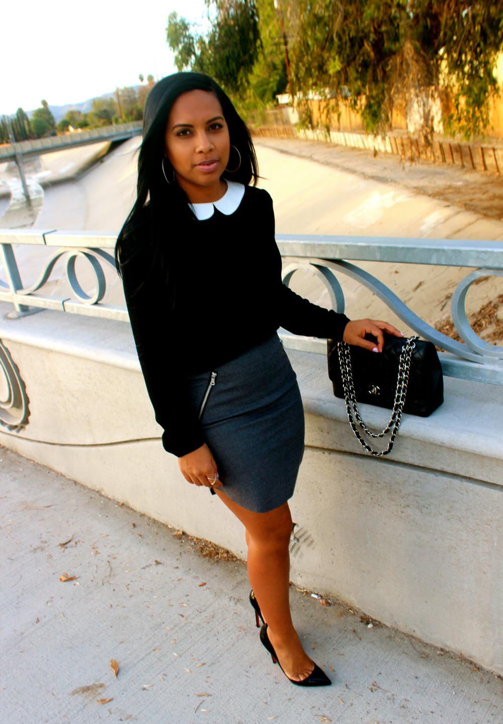 Looks for under 100 - Blouse, H&M Skirt, Christian Louboutin Heels, Chanel Bag
