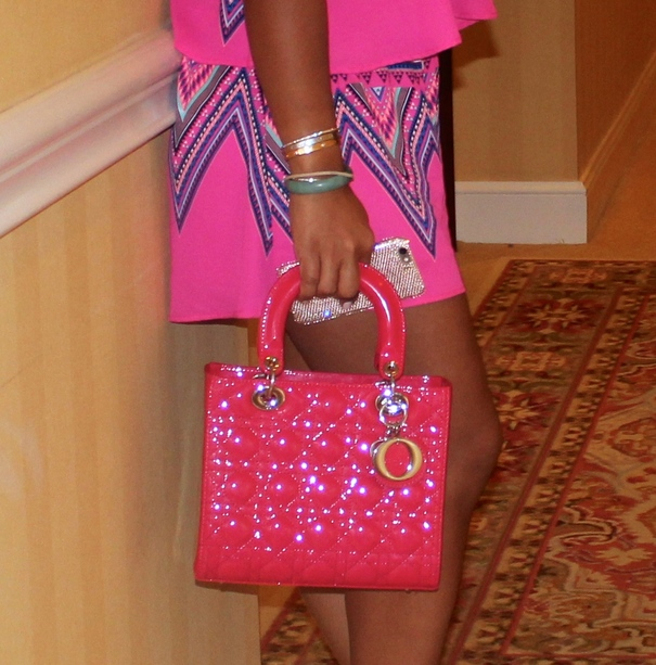 Wearing - Lush two piece set (top and shorts), Manolo Blahnik Sandals, Dior Bag