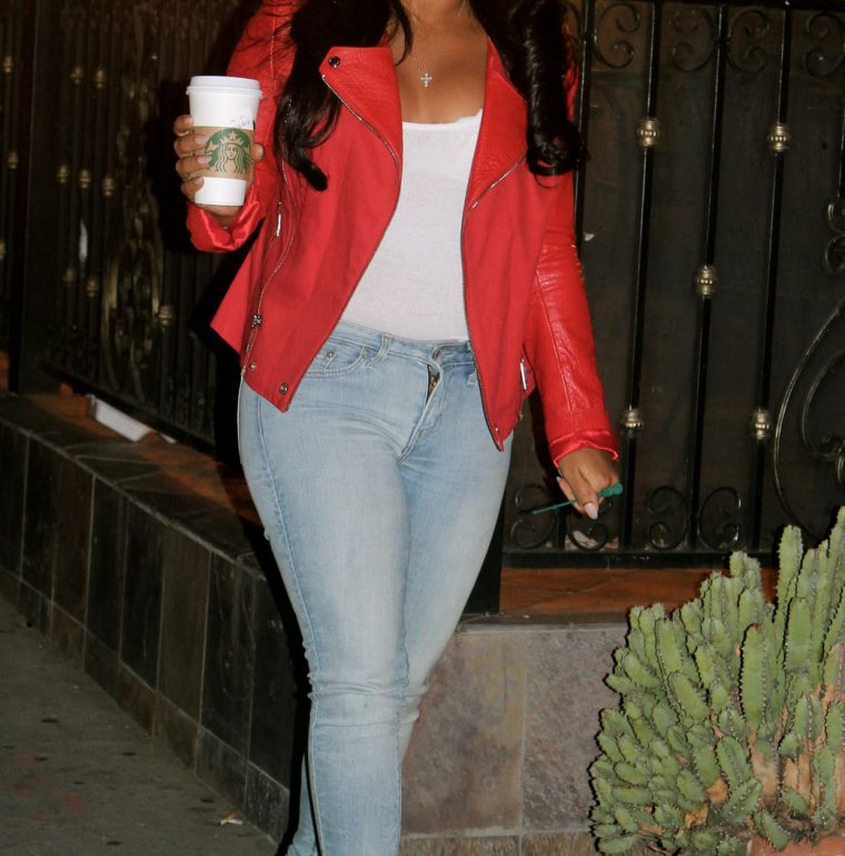 Michael Kors Red Leather Motorcycle Jacket, Levi's Jeans, Christian Louboutin Pigalle Heels