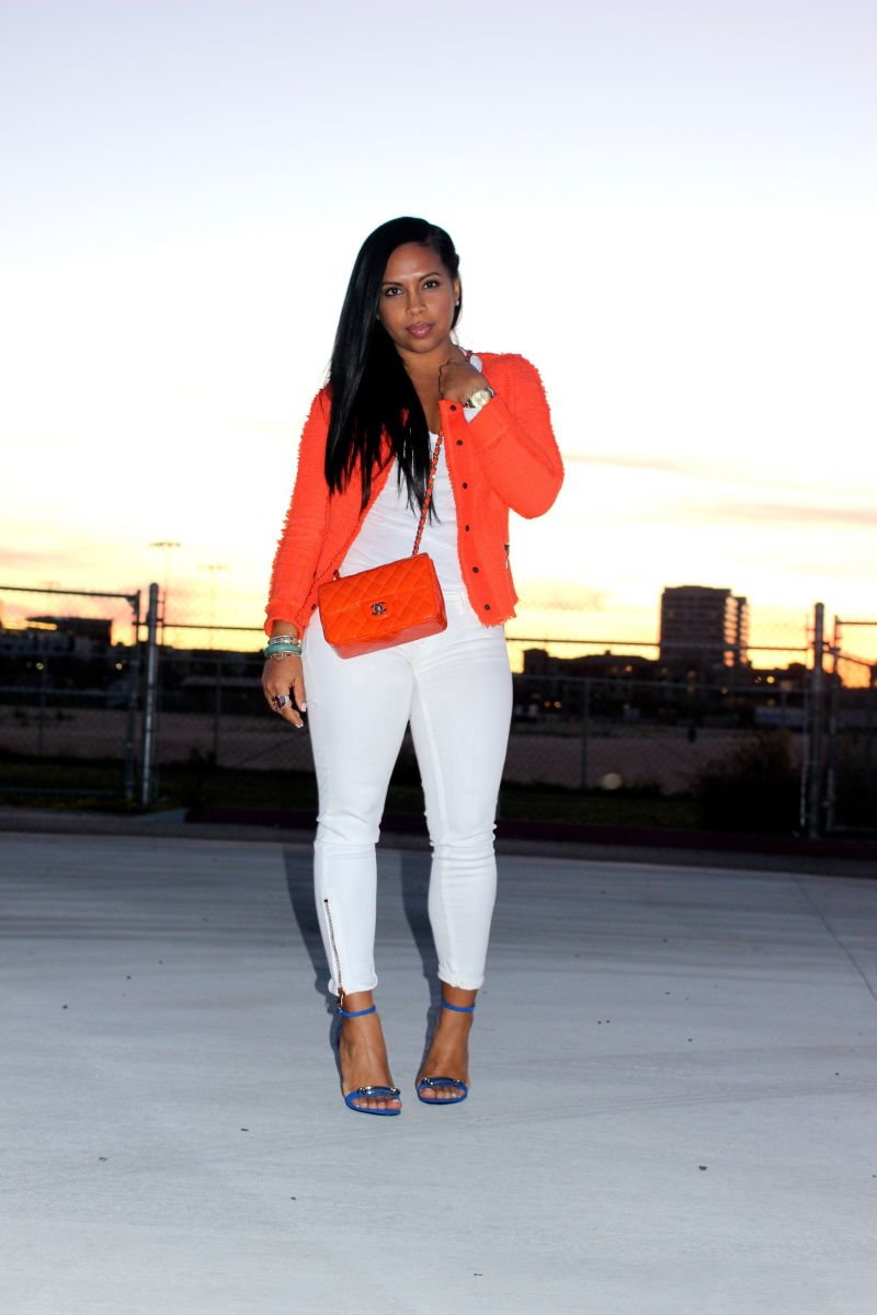 Wearing - Orange Chanel inspired Tweed Jacket by Zara, James Perse Tank, Genetic Denim White Jeans, Balenciaga Sandals