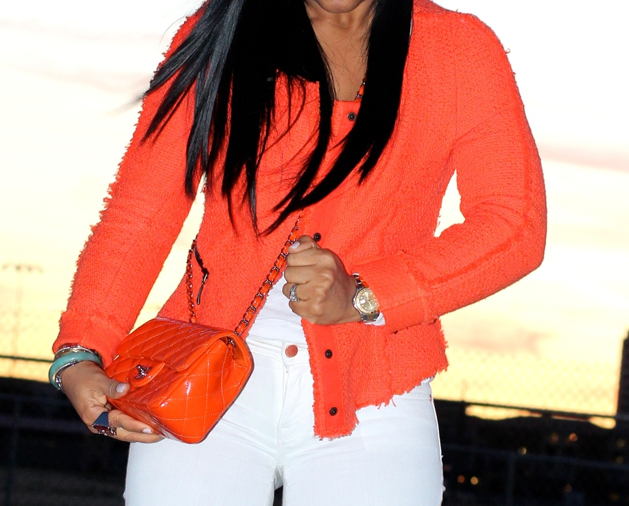 Wearing - Orange Chanel inspired Tweed Jacket by Zara, James Perse Tank, Genetic Denim White Jeans