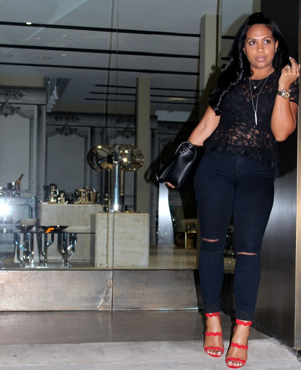 Wearing - F21 Lace Top, J Brand Jeans, Prada Red Sandals, Chanel Bag