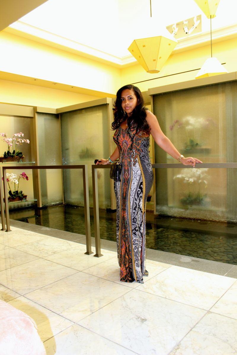 Wearing - Printed maxi dress, Gucci Bag, Rupert Sanderson Heels