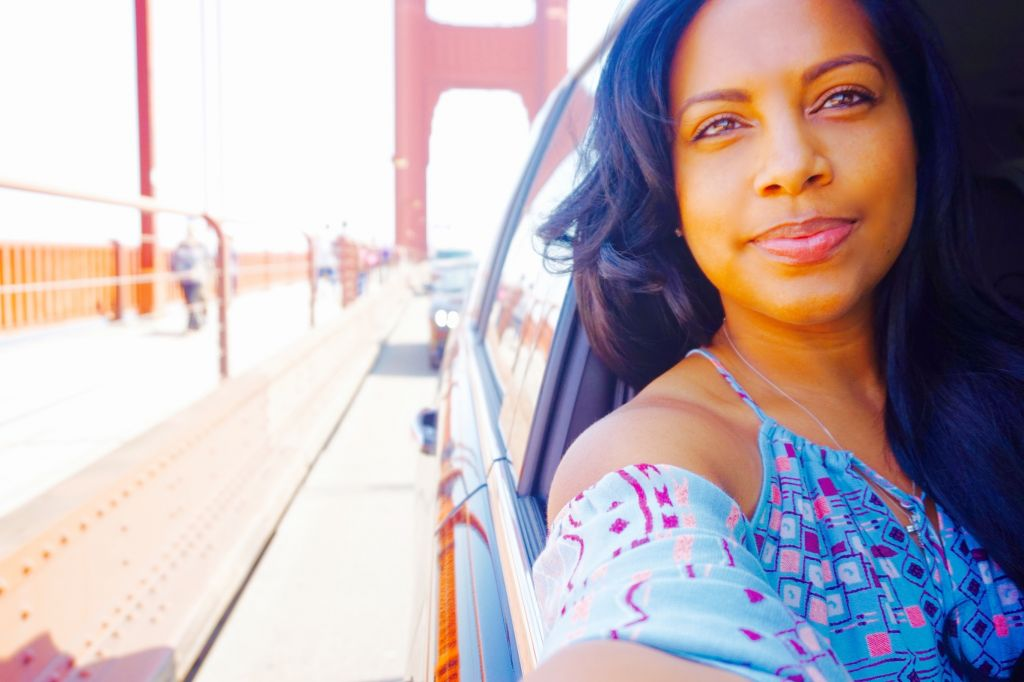 Tanya Major on the San Francisco Golden Gate Bridge