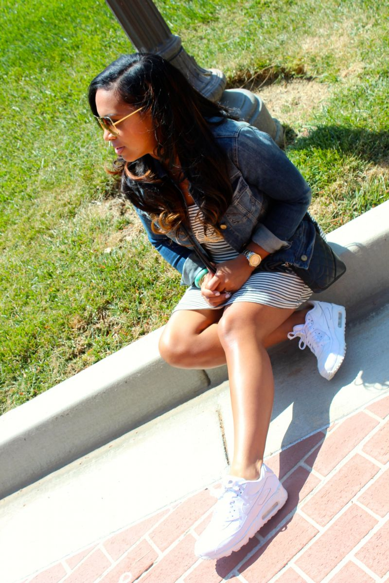 Wearing - Jean Jacket, Striped Dress, Nike Runners, Chanel Purse