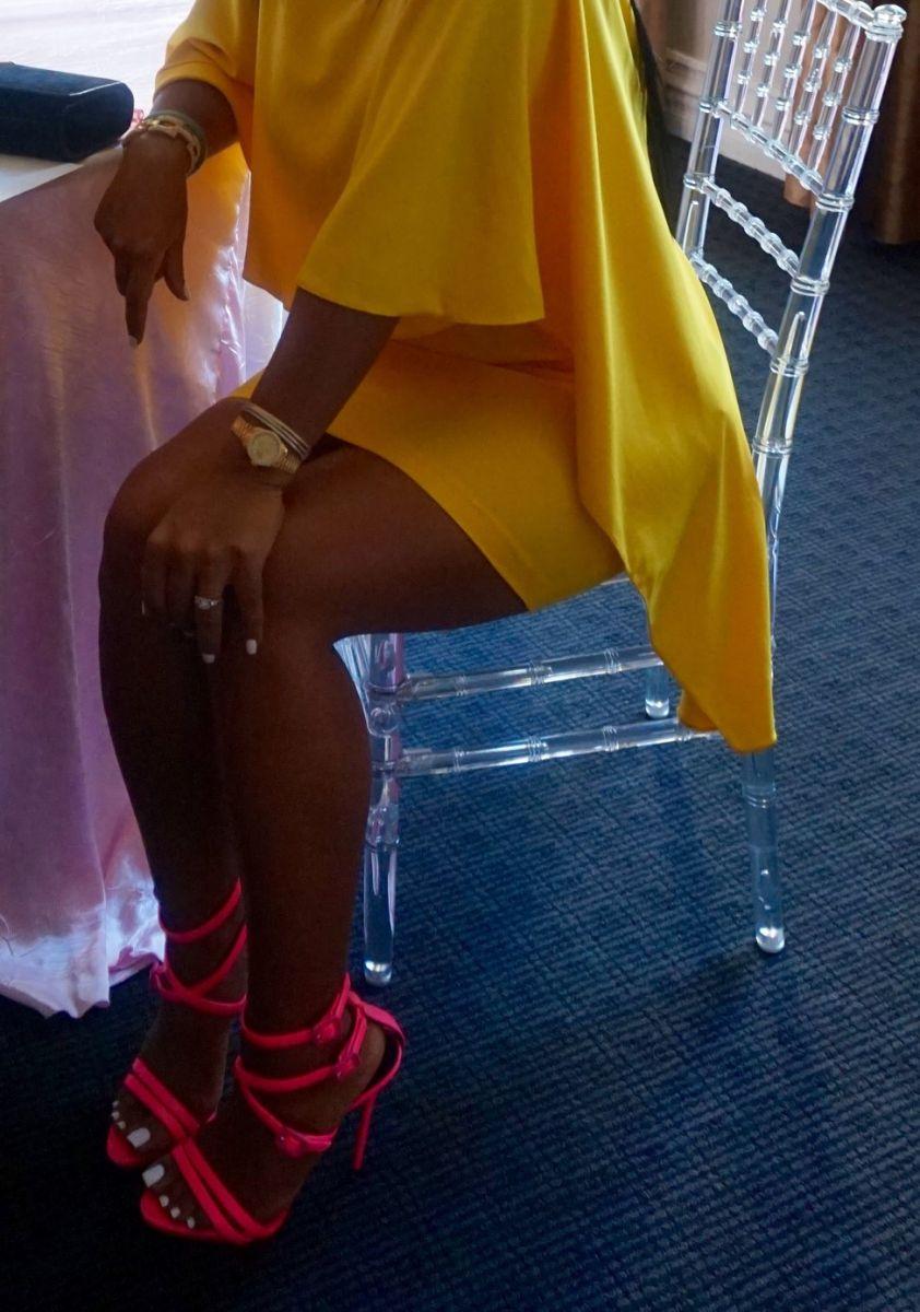 Tanya Major wearing - Zara Dress, Giuseppe Zanotti Heels